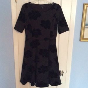 Lands' End black floral dress size Small